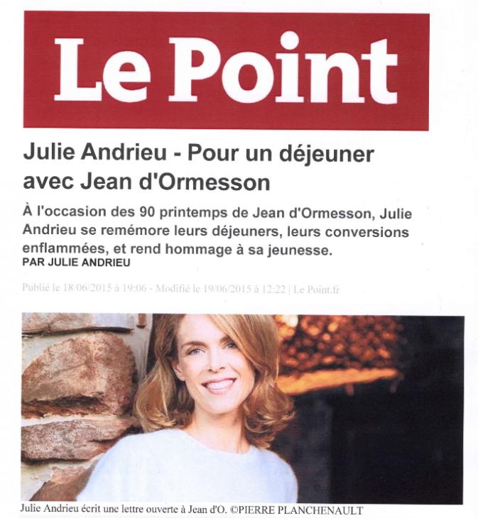 Julie Andrieu - Pour un déjeuner avec Jean d'Ormesson - Le Point