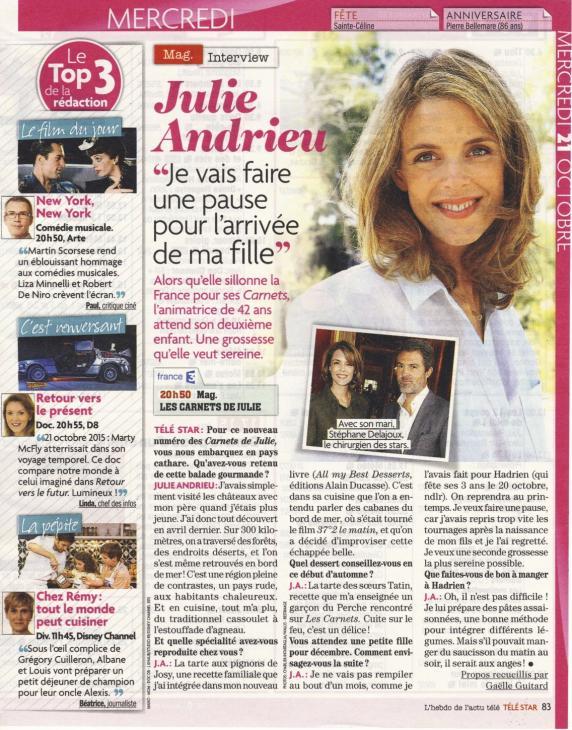 Julie Andrieu : Je vais faire une pause avec l'arrivée de ma fille - Télé Star