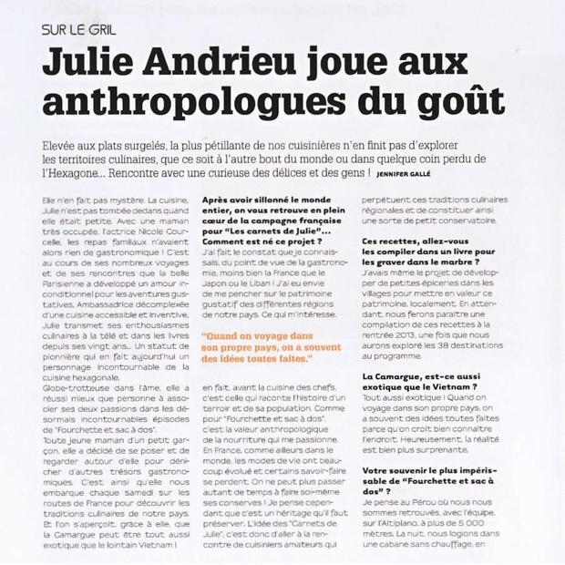 Julie Andrieu joue aux anthropologues du goût