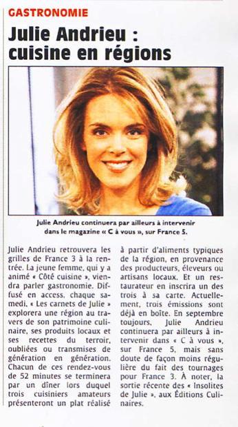 Julie Andrieu, Cuisine en région