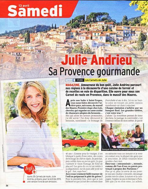 Julie Andrieu, Sa Provence gourmande