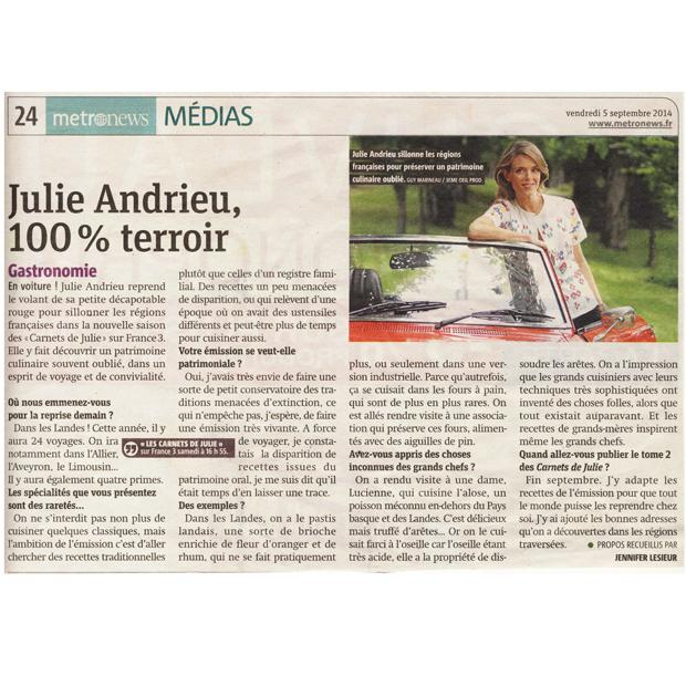 Julie Andrieu, 100% terroir