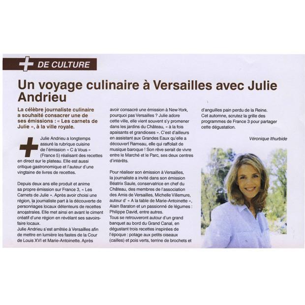 Un voyage culinaire à Versailles avec Julie Andrieu