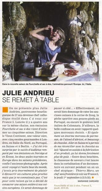Julie Andrieu se remet à table