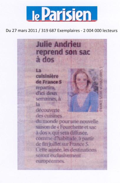 Julie Andrieu reprend son sac à dos