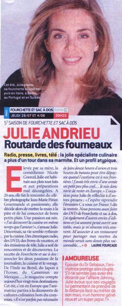 Julie Andrieu, routarde des fourneaux