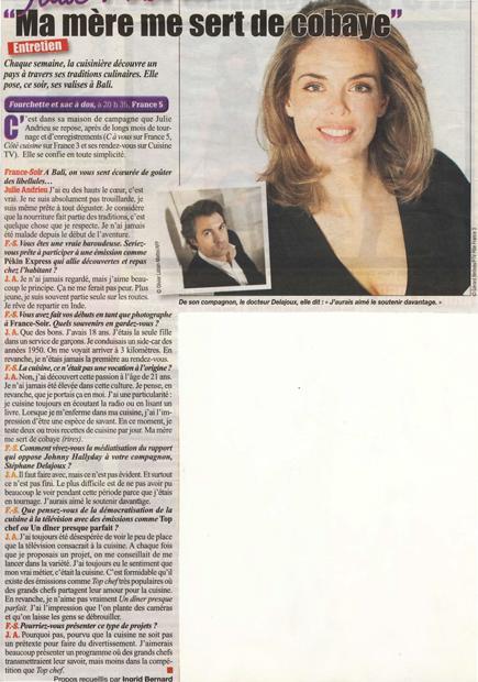 Julie Andrieu - Fourchette et sac à dos