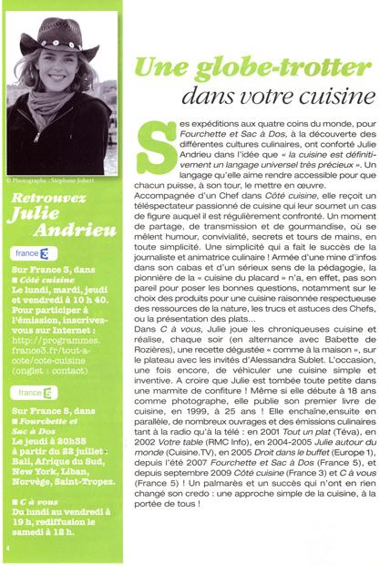 Julie, la cuisinière bien aimée de votre été !