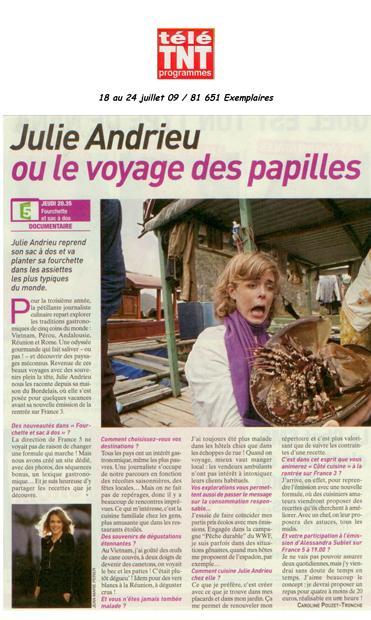 Julie Andrieu ou le voyage des papilles
