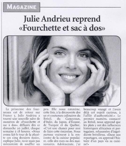 Julie Andrieu reprend Fourchette et sac à dos