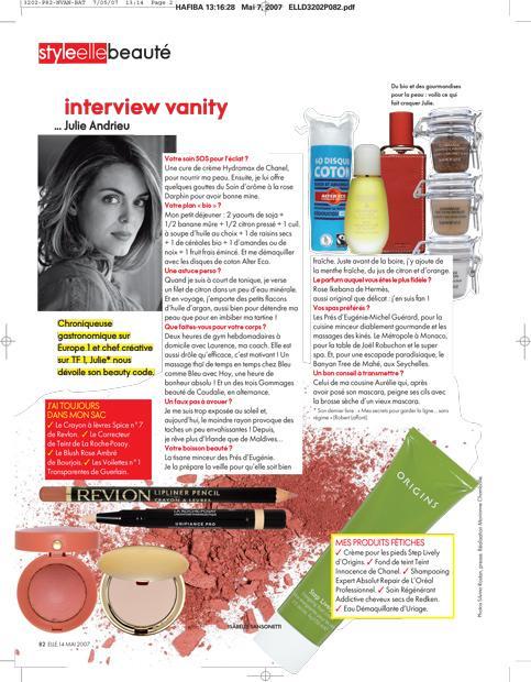 Interview Vanity... Julie Andrieu