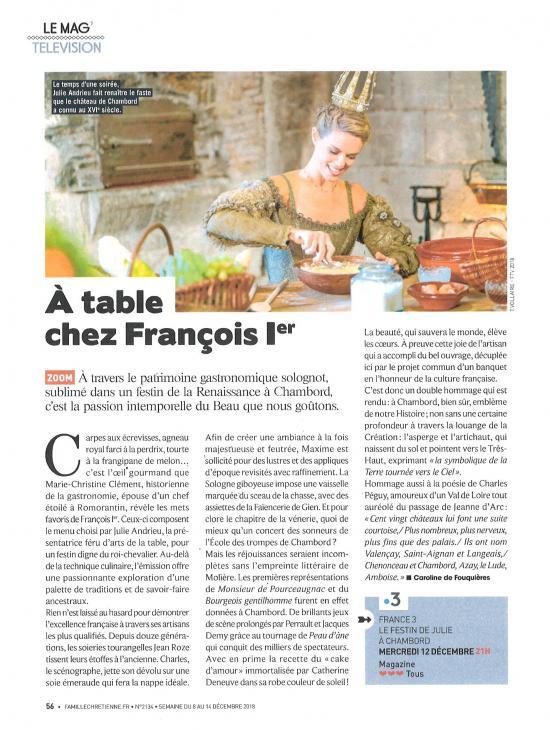 """FAMILLE CHRETIENNE - """"A table avec François 1er"""" - 8 décembre 2018"""