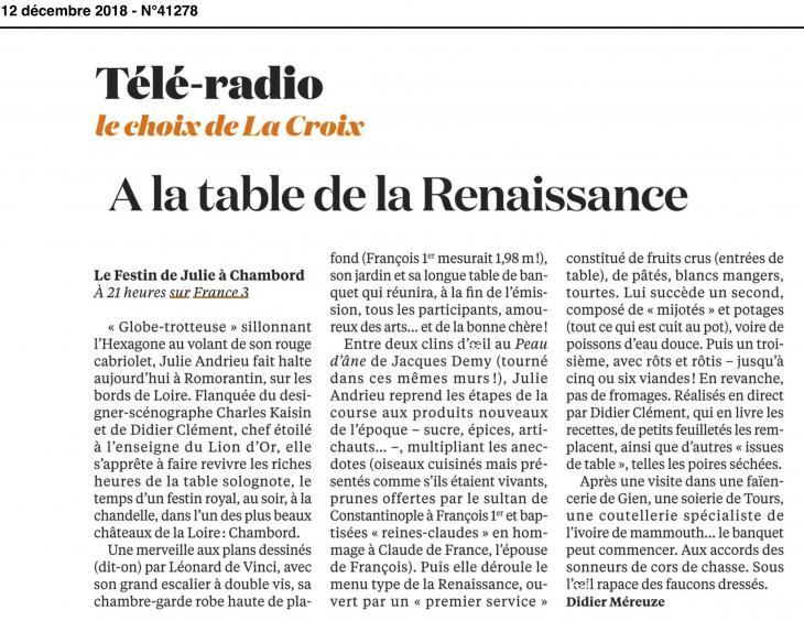 LA CROIX - A la table de la Renaissance - 12 décembre 2018