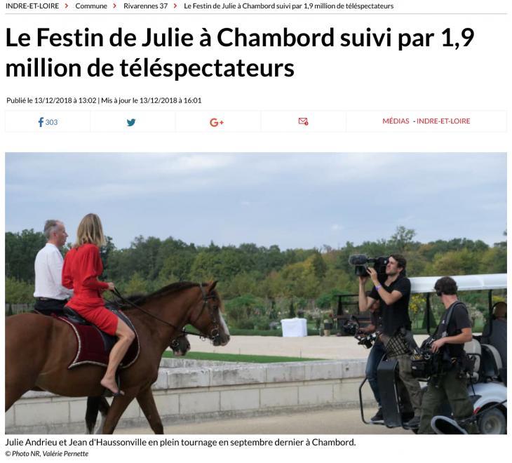 """LA NOUVELLE RÉPUBLIQUE - """"Le festin de Julie à Chambord suivi pas 1,9 million de téléspectateurs"""" - 13 décembre 2018"""