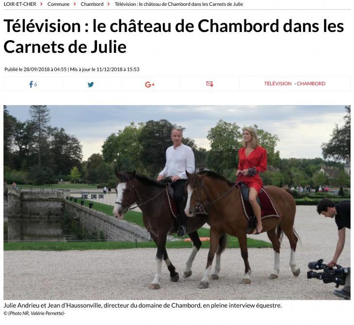 """LA NOUVELLE RÉPUBLIQUE - """"Télévision : le château de Chambord dans les Carnets de Julie"""" - 28 septembre 2018"""