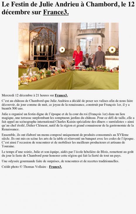 """LE BLOG - """"Le Festin de Julie Andrieu à Chambord, le 12 décembre sur France3."""" - 22 novembre 2018"""