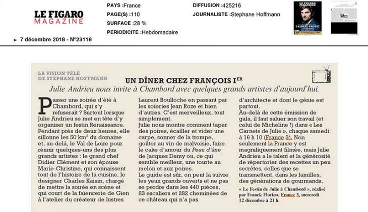 """LE FIGARO MAGAZINE - """"Un dîner chez François 1er"""" - 7 décembre 2018"""