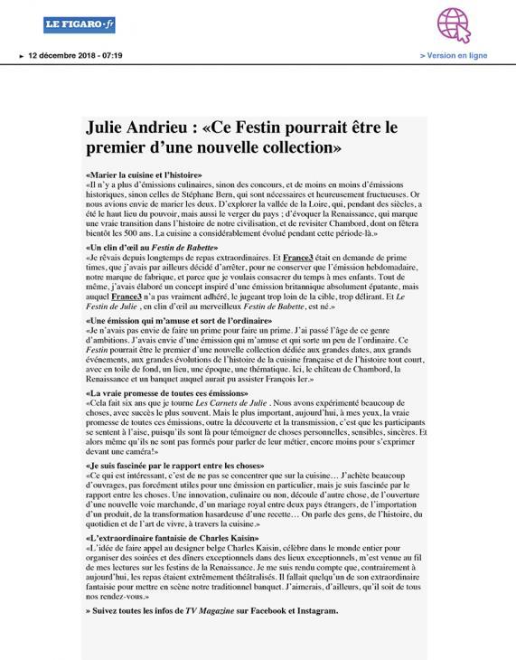 """LE FIGARO.FR - """"Julie Andrieu : «Ce Festin pourrait être le premier d'une nouvelle collection»"""" - 12 décembre 2018"""