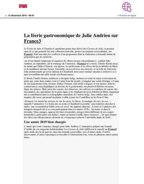 """LE FIGARO - """"La féerie gastronomique de Julie Andrieu sur France3"""" - 12 décembre 2018"""