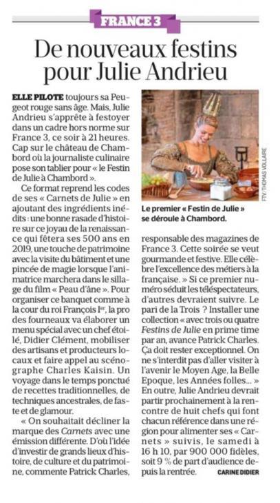 """LE PARISIEN - """"De nouveaux festins pour Julie Andrieu"""" - 12 décembre 2018"""