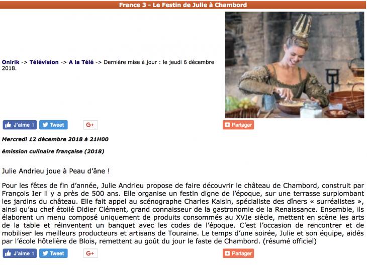 """ONIRIK - """"Julie Andrieu joue à Peau d'âne"""" - 6 décembre 2018"""
