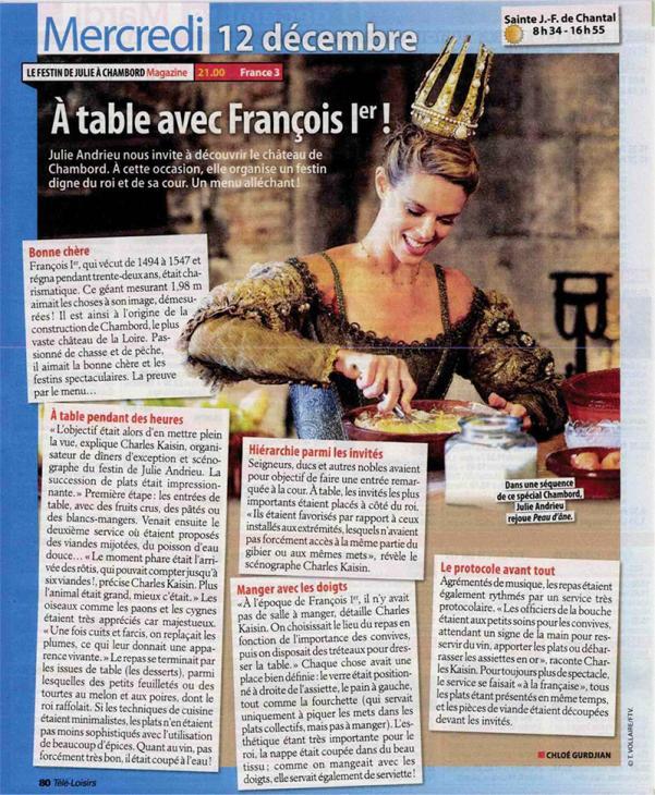 """TELE LOISIRS - """"A table avec François 1er"""" - 2 décembre 2018"""