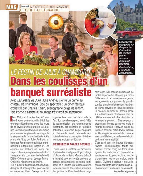 """TELE POCHE - """"Dans les coulisses d'un banquet surréaliste"""" - 3 décembre 2018"""