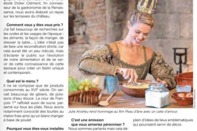 """OUEST FRANCE - """"La table de fête de Julie Andrieu à Chambord"""" - 12 décembre 2018"""
