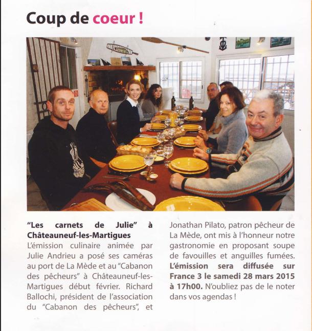 Coup de coeur, Les carnets de Julie – Vivre à Châteauneuf-les-Martigues