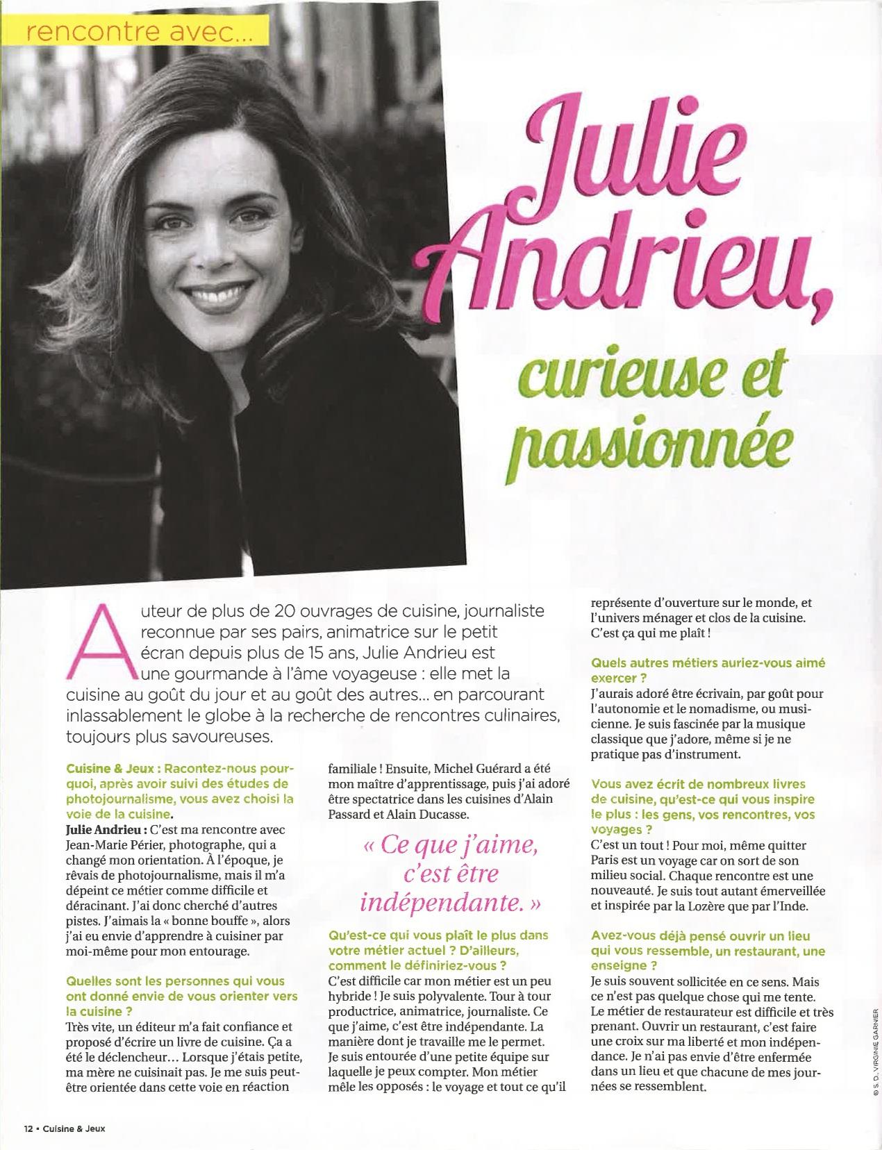Julie Andrieu, curieuse et passionnée – Cuisine & Jeux