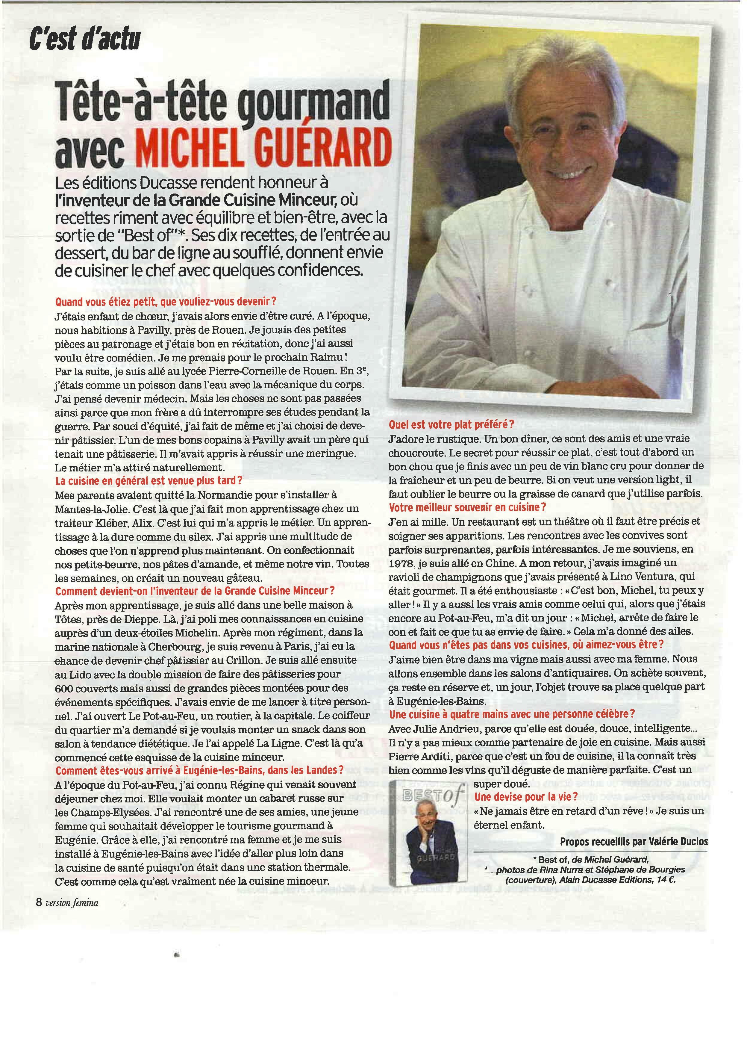 Tête à  tête gourmand avec Michel Guerard – Version Femina