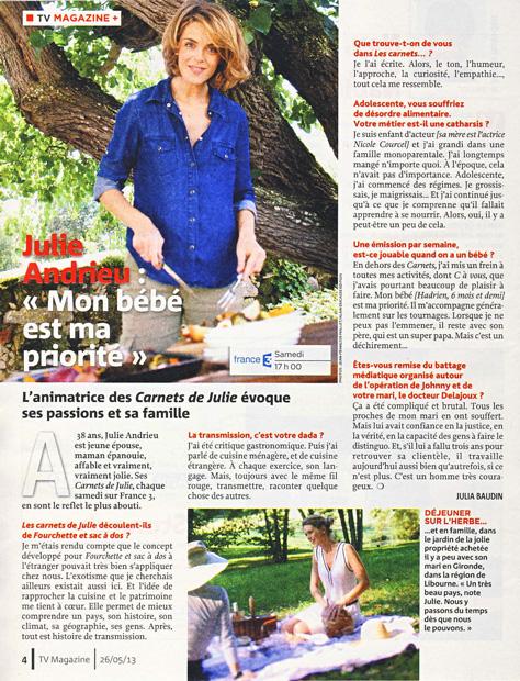 Julie Andrieu intime, ses carnets secrets sur France 3