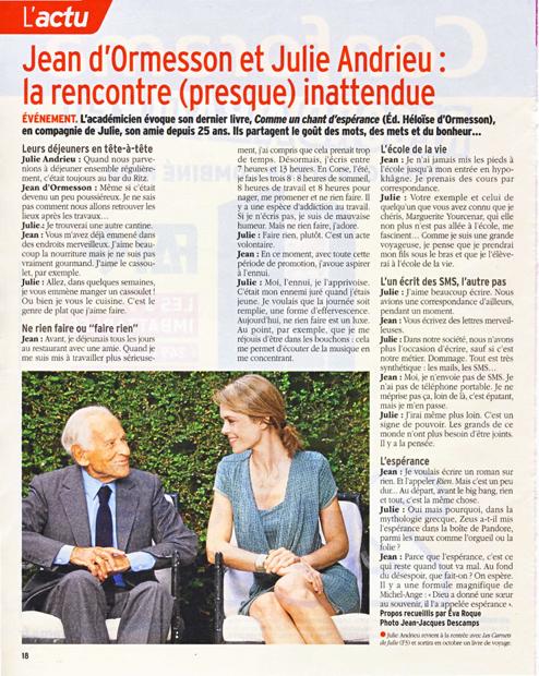 Jean d'Ormesson et Julie Andrieu : la rencontre (presque) inattendue