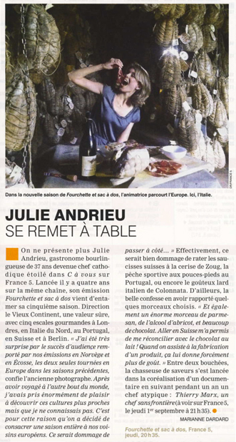 Julie Andrieu se remet à table