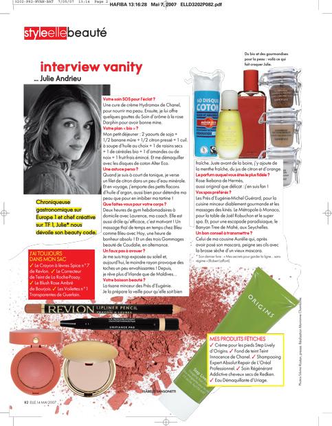 Interview Vanity… Julie Andrieu