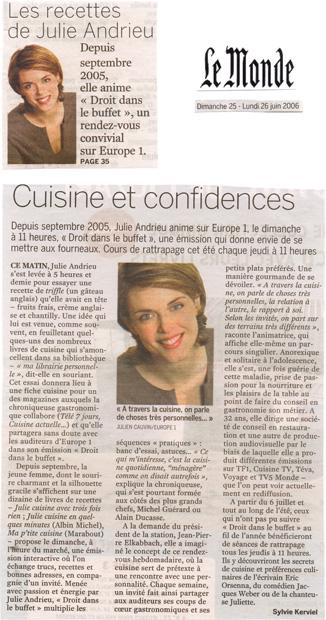 Cuisine et confidences