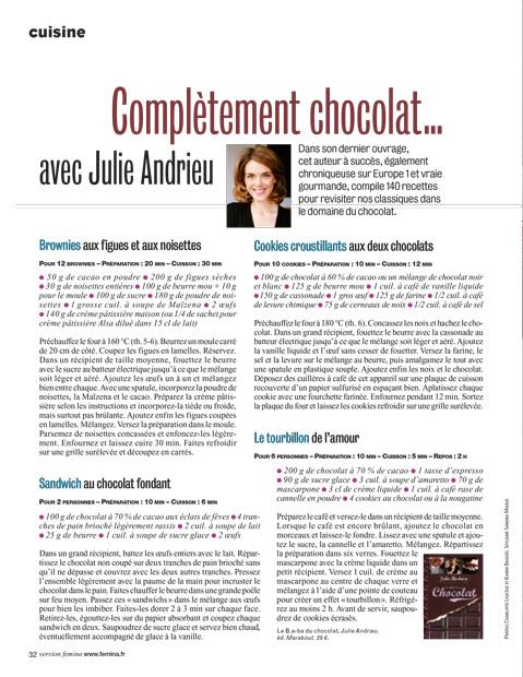 Complètement chocolat… avec Julie Andrieu