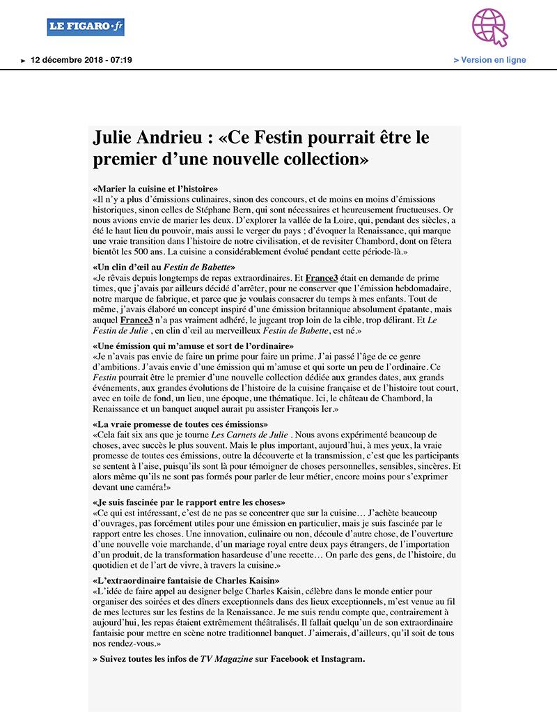 LE FIGARO.FR – «Julie Andrieu : «Ce Festin pourrait être le premier d'une nouvelle collection»» – 12 décembre 2018