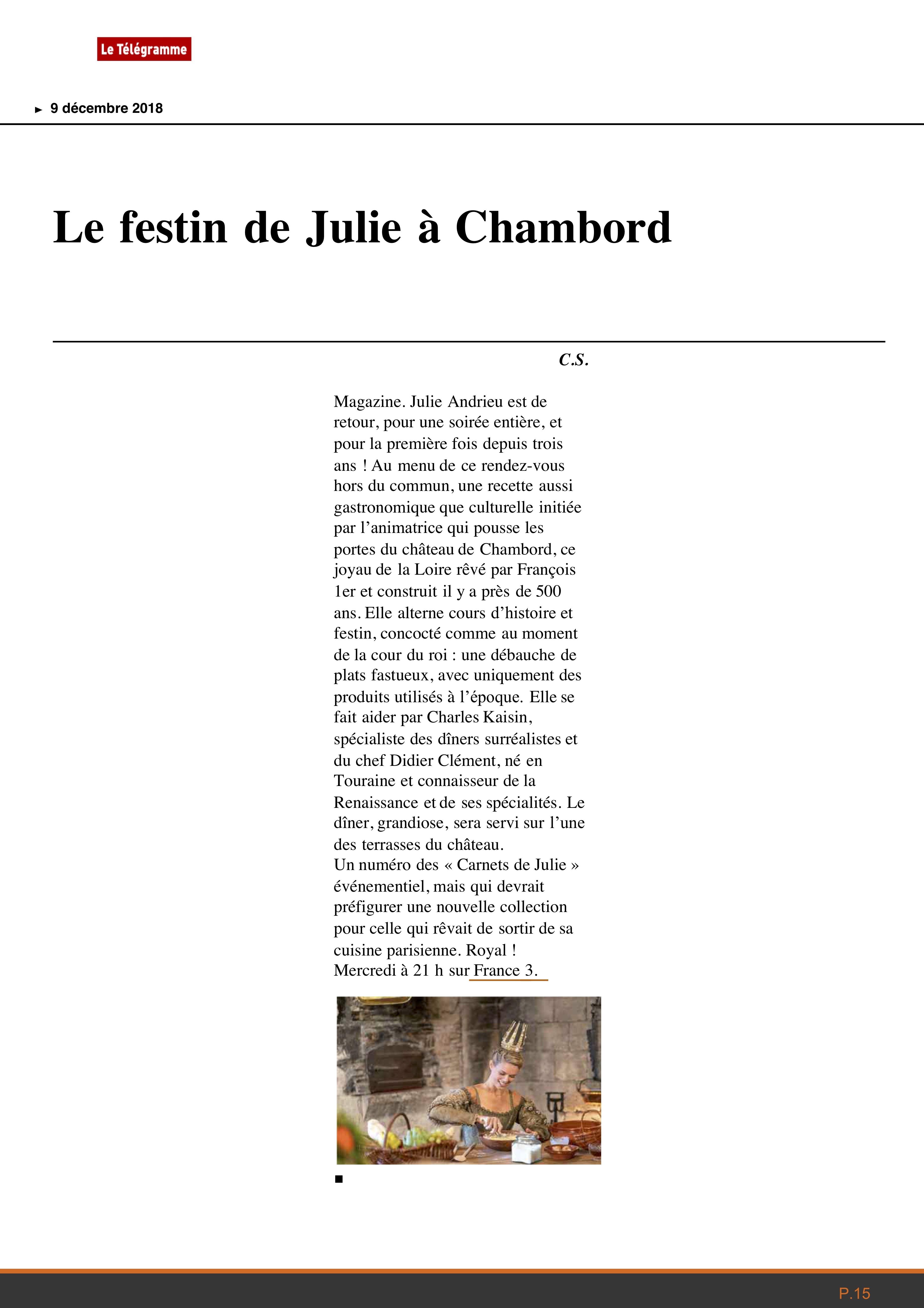 LE TELEGRAMME – «Le festin de Julie à Chambord» – 9 décembre 2018