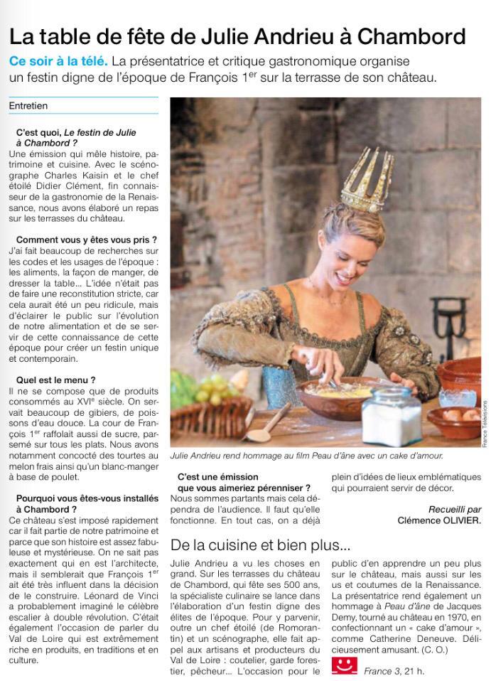OUEST FRANCE – «La table de fête de Julie Andrieu à Chambord» – 12 décembre 2018