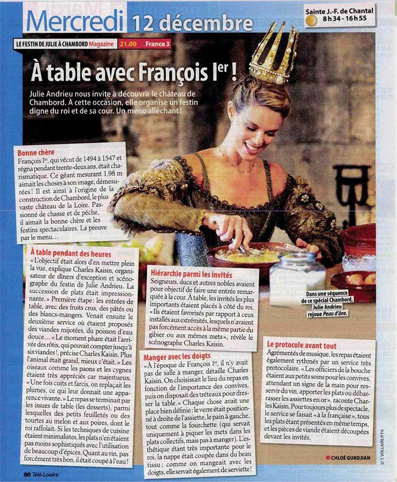 TELE LOISIRS – «A table avec François 1er» – 2 décembre 2018
