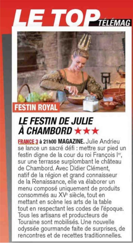 TELE MAGAZINE – «LE festin de Julie à Chambord» – 3 décembre 2018