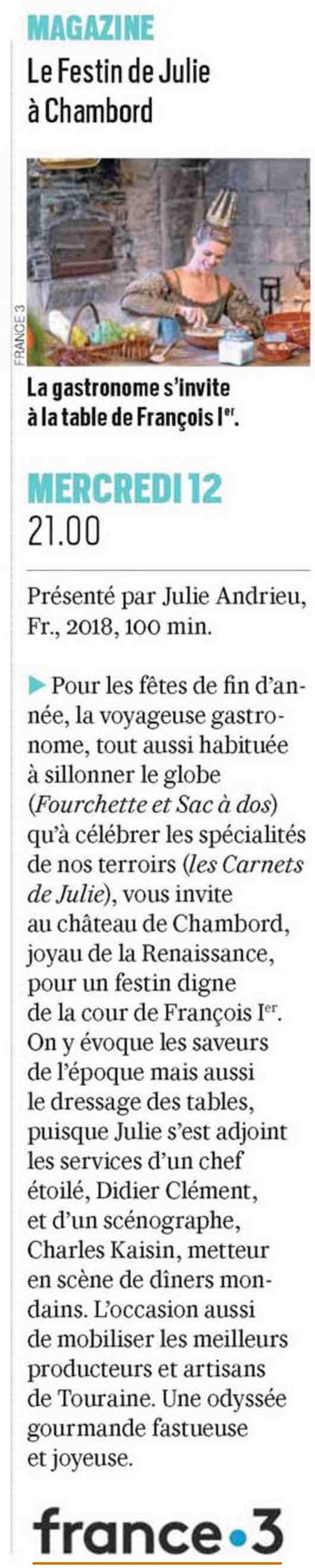 VALEURS ACTUELLE – «Le Festin de Julie à Chambord» – 6 décembre 2018